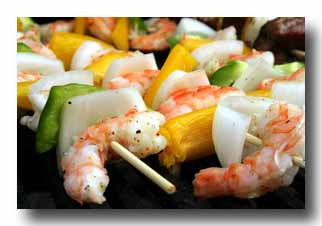 Shrimp kabobs on wooden skewers
