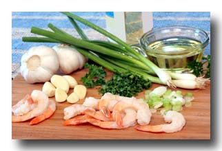 All the ingredients for making shrimp scampi